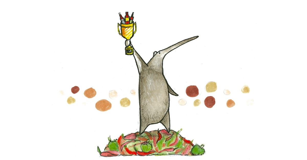 The year's best hot sauces - Illustration of an Anteater holding a golden trophy fill with hot sauces bottles, standing on top of a pile of hot chile peppers.