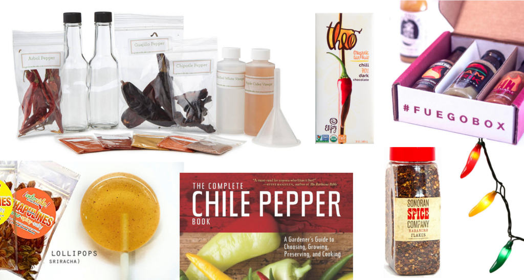 Multiple gifts and presents for spicy food lovers, chile pepper gifts, hot sauce addicts, chileheads