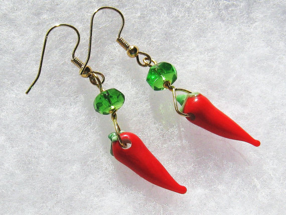 Glass red chile pepper earings, gold metal wire and green crystal