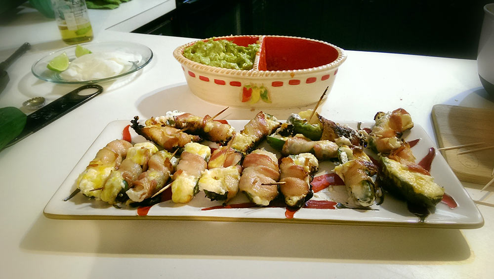 Barbecue Grilled Jalapeño Poppers Wrapped in Bacon - Recipe