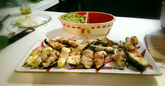 Jalapeno poppers wrapped in bacon, filled with cream cheese and cheese, recipe, step-by-step