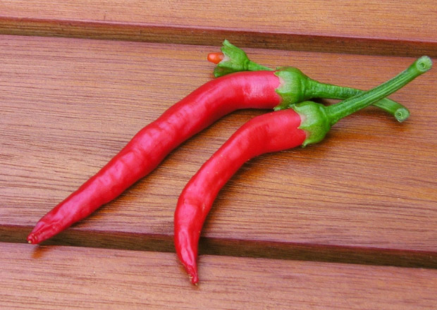 Fresh red cayenne peppers